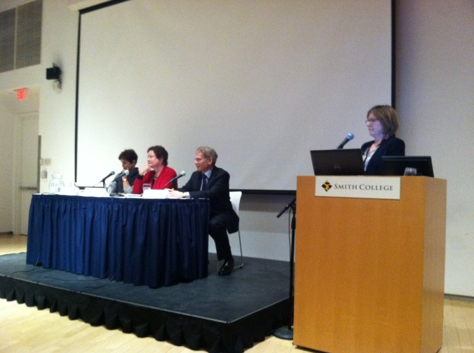 From left to right: Alice Handy, Peggy Eisen, Bob Litterman, Kathleen McCartney.